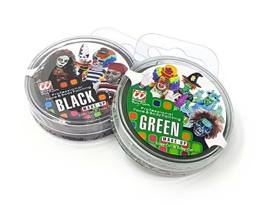 Groen en zwart zombiesschmink